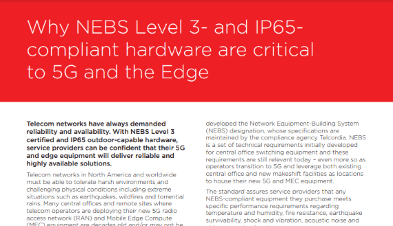 resize Why NEBS Level 3- and IP65-compliant hardware are critical to 5G and the Edge